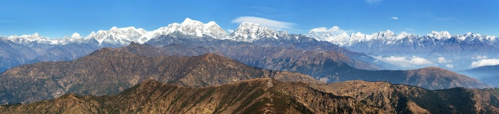 Panoramic view of himalayas range from Pikey peak
